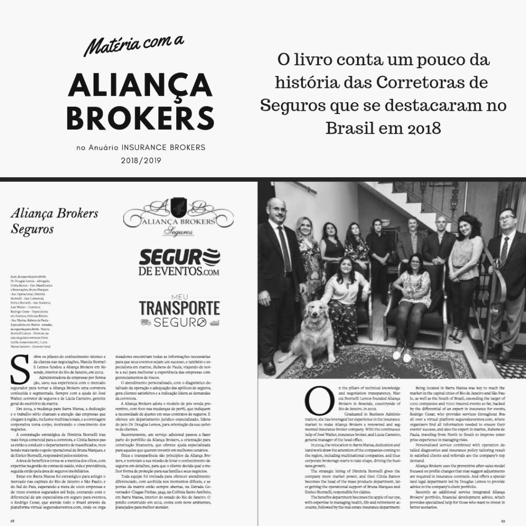 Aliança Brokers no anuário Insurance Brokers 2018/19